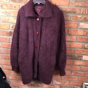 D & D Collection Angora Cardigan Sweater Jacket Warm Puffy Lined Wool Pockets L